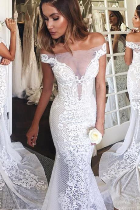 2017 Mermaid Short Sleeves Zipper Off-the-Shoulder Glamorous Lace Court Train Homecoming Dress 2017 Dresses