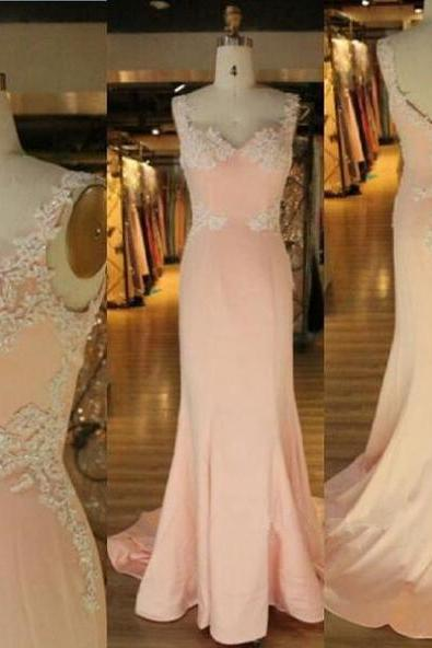 New Arrival Prom Dress,Modest Prom Dress,Pink Sweetheart Prom Dress,Mermaid Prom Dress,Evening Dress,Straps Prom Dress,Lace Applique Prom Dress,Party Dresses