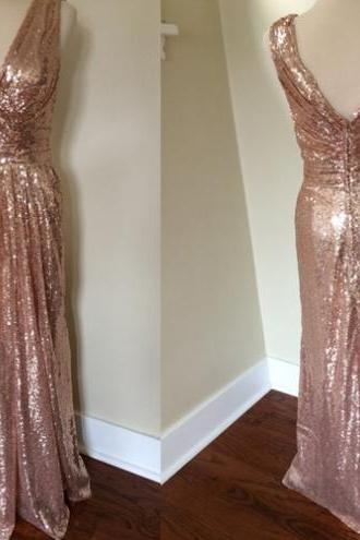 Customisable Gold Sequin V-Neckline Floor Length Bridesmaid Dresses