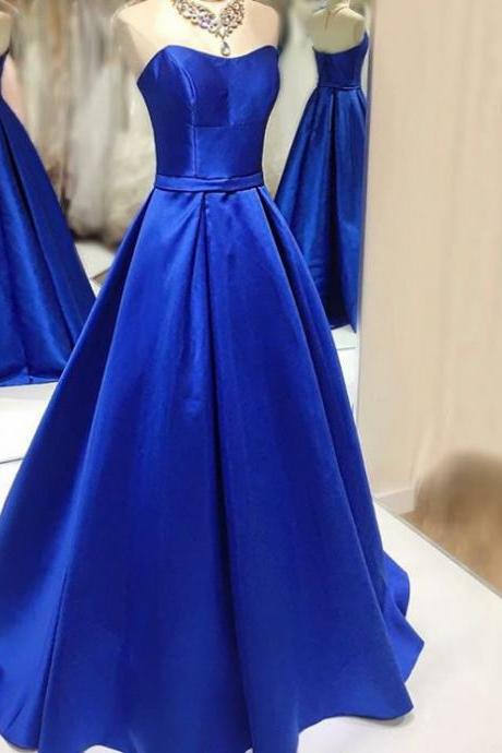 Royal Blue Prom Dresses,Royal Blue Strapless Taffeta A Line Prom Dress , Pageant Gown, Evening Dress