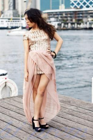 Sequined Evening Dress,High Low Evening Gowns,Rose Gold Sequin Prom Dresses With Short Sleeves Blush Pink Long Dresses Formal Dress