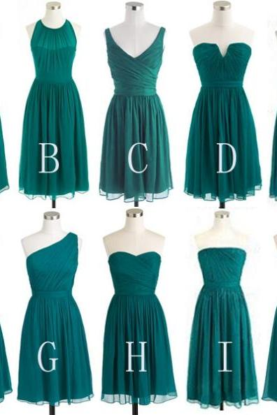 Custom Made Green Chiffon Knee Length Mismatched Bridesmaid Dress