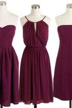 Custom Made Burgundy Mismatched Bridesmaid Dresses, Short Evening Dress, Homecoming Dress, Wedding Dress