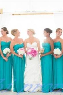 Custom Made Blue Strapless Chiffon Floor Length Bridesmaid Dress